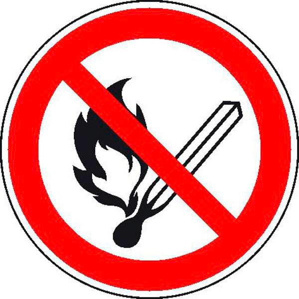 verbotsschild keine offene flamme feuer offene z ndquelle und rauchen verboten bei suk. Black Bedroom Furniture Sets. Home Design Ideas