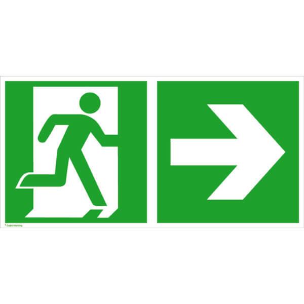 Fluchtwegschilder, Rettungsschilder nach BGV A8, ASR A1.3, DIN