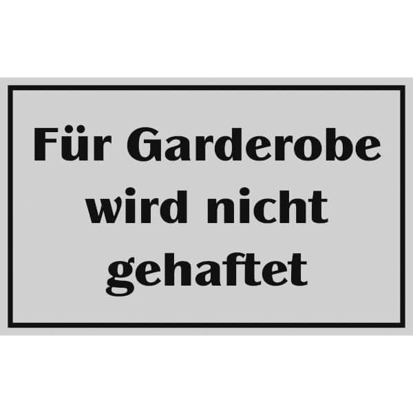 Garderobe schild  Hinweisschild - Gaststätten Pensionen Hotels Für Garderobe wird ...