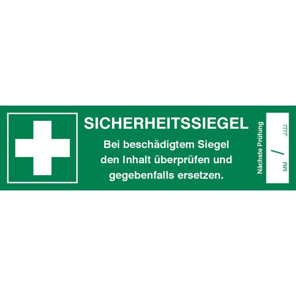 Sicherheitssiegel für Erste Hilfe Koffer Text: Bei beschädigtem ...