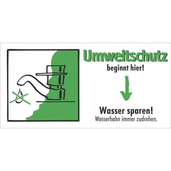 etiketten umweltschutz beginnt hier wasser sparen wasserhahn immer zudrehen. Black Bedroom Furniture Sets. Home Design Ideas