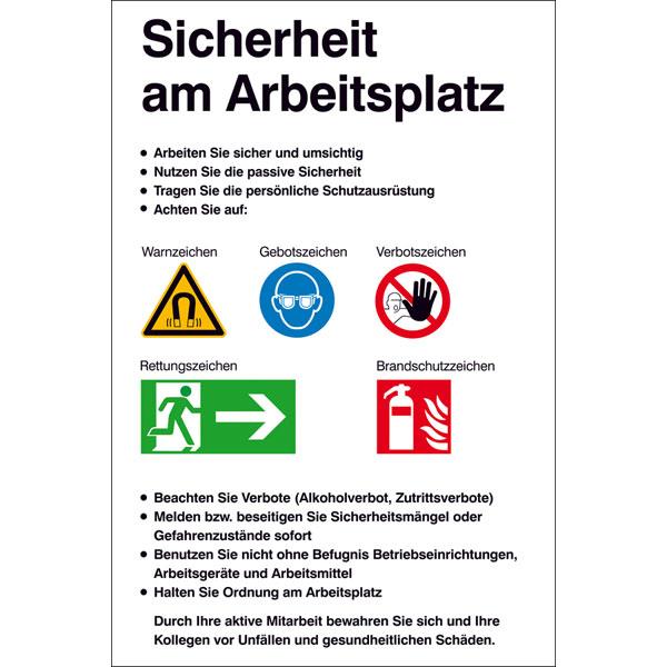 Arbeitsplatz zeichnung  Aushang - Sicherheitskennzeichnung Sicherheit am Arbeitsplatz