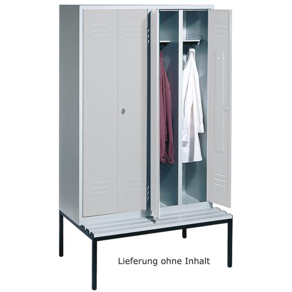 garderobenschr nke stahlschr nke c p garderobenschrank s 2000 classic mit sitzbank bei suk. Black Bedroom Furniture Sets. Home Design Ideas