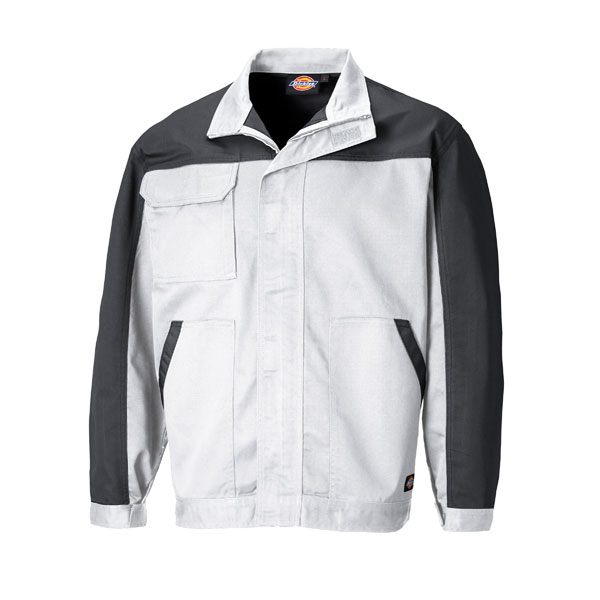 Dickies Workwear Everyday Bundjacke weiß grau Arbeitsjacke mit verstellbaren Ärmelbündchen und verdecktem Reißverschluss