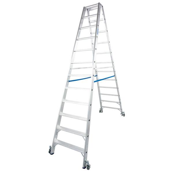 Leitern Stufen Doppelleitern Krause Stufen Doppelleiter Fahrbar Alu Arbeitshohe 4 6 M