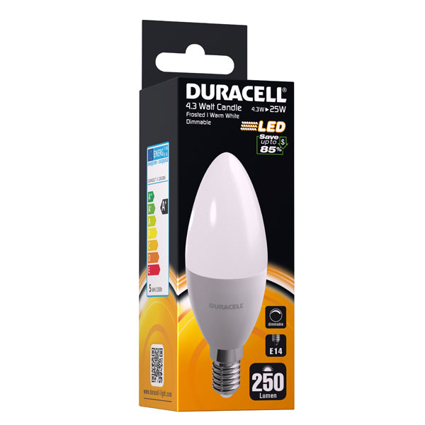 Duracell Candle LED-Lampe C25 frosted dimmbar Leistung: 4 3W (25W ...